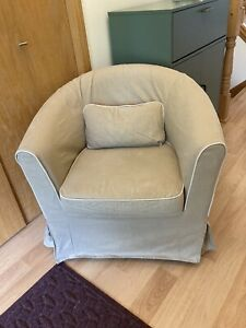 IKEA Cover EKTORP TULLSTA Chair Dark Beige w/ Piping Discontinued Slipcover