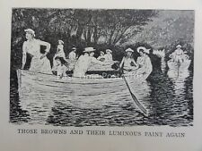 Romance Love & Boating ROWING - BROWNS & THEIR LUMINOUS PAINT Antique Cartoon