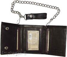 Men's Genuine Leather Trifold Chain wallet; Motorcycle, Trucker, Biker wallet #1