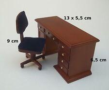 ensemble d'un bureau et sa chaise,miniature maison de poupée, vitrine  M4