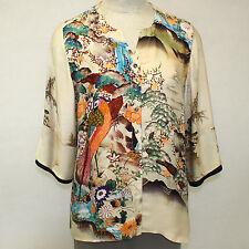 NEW NWT Citron Clothing Plus Size Birds Paradise 100% Silk Fukure Art Blouse 1X