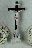 Antique Religious vieux paris  porcelain Crucifix Cross christ Angels mary