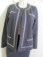 Exclusively Misook Black Jacket w/Silver Trim Knit  NWT