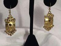 Vintage Gold Tone Egyptian Boho Revival Dangle Earrings Amber Beaded Accents