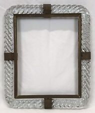 Vintage Murano Rope Twist Glass & Brass Frame 7 3/4 x 9 3/4 Opening