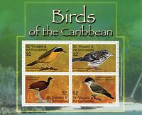 St Vincent & Grenadines 2007 MNH Birds of Caribbean Jacana Warbler 4v M/S Stamps