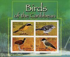 St Vincent & Grenadines 2007 MNH Birds of Caribbean Jacana Warbler 4v M/S Stamps