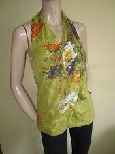 E - Muzi ~ Ochre Yellow Floral Print Halter Neck Vest Top ~ Size 10 ~ BNWT New