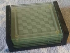 COLLECTIBLE SET OF 6 GLASS CHESS DESIGN COASTERS IN WOODEN HOLDER