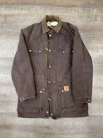 VINTAGE Carhartt Blanket Lined Chore Jacket Coat Men's Small Union USA Made BRN