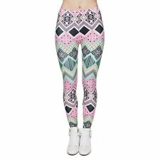 Aqua Pink Chevron Leggings -Tribal Aztec unicorn urban colors NWT OS One Size