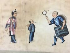 """Beautiful Antique Chinese Pith Rice Paper Painting 14""""x9.5"""" (w/ frame 17""""x13"""")"""