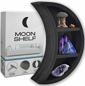 Black Crescent Moon Kiri Wooden Shelf for Crystals and Stones - 11in x 7in x 3in