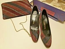 Vintage Multi-Color Naturalizer Shoes 7B Boxed & Matching Clutch / Shoulder Bag