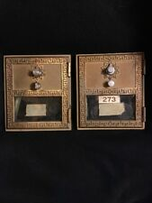 (2) VINTAGE POST OFFICE PO BOX BRASS DOORS WITH Combinations