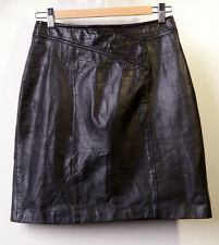 Out of Bounds Real Leather Skirt Vintage Womens Black Size 11/12 Runs Small