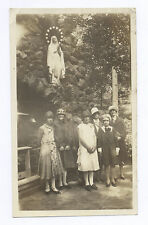 1930's SNAPSHOT: SIX GIRLS WITH A LIGHTED RELIGIOUS STATUE LOOMING ABOVE THEM