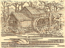Country Water Mill Swan Wood Mounted Rubber Stamp Impression Obsession L1744 NEW