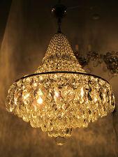 """Antique Vnt French HUGE Basket Chrome/nickel Crystal Chandelier Lamp 1940's 20"""""""