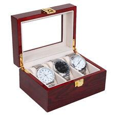 3 Grid Jewelry Watch Collection Display Storage Organizer Red wood Box Case