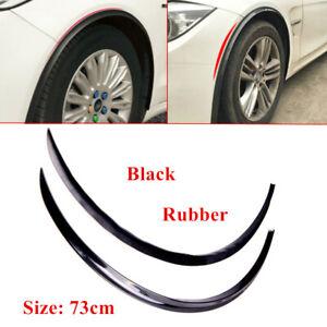 2X Rubber Wheel Eyebrow Car Fender Protector Strips Carbon Fiber Sticker Parts