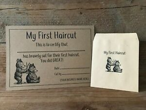 x10 Personalised First Haircut Certificates & Envelopes, hairdresser, barber