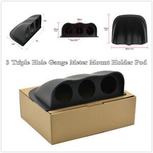 Universal 52mm Dashboard 3 Triple Hole Gauge Meter Mount Holder Pod Black ABS