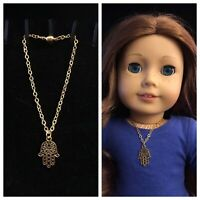 Gold Hamsa Hand Charm Necklace for American Girl Doll Saige