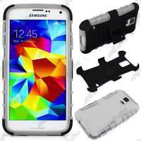 Coque Housse Etui Anti Choc Armor Outdoor Bequille Blanc Samsung Galaxy S5 G900F