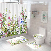 Floral Shower Curtain Bathroom Rug Set Thick Bath Mat Non-Slip Toilet Lid Cover