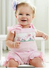 Mud Pie pink striped EASTER COTTONTAIL bunny smocked bubble romper 9-12 Months
