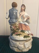 Vintage Dutch Boy & Girl Ceramic Music Box Turns Plays Love Story Made in Japan