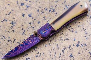 Suchat Jangtanong Custom Folding Knife Color Damascus White Bull Horn