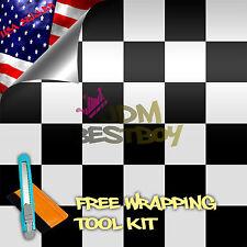 "*24""x60"" Black White Checker Racing F1 Auto Car Vinyl Wrap Sticker Decal Sheet"
