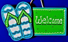 Flip Flops Welcome Sign Wall Plaque Home Deck Backyard Summer Seasonal Porch