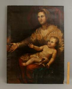 Early Antique 17/18thC Old Master Canvas Oil Painting, Madonna & Child