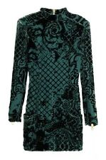 NWT- BALMAIN x H&M - Green Silk Blend Velvet Dress SIZE US 4, EU34, UK8