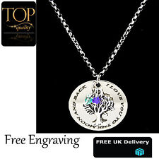 Personalised Family Tree Of Life Disc Mum Engraved Name Necklace Silver Plated