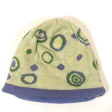 LL BEAN YOUTH large green purple beanie winter hat fleece FREE SHIPPING - hbx10
