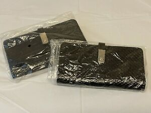 LOT OF 2 - Leather Checkbook Cover Card Holder Wallet W/ ID Window Zip/Magnetic