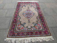 Old Hand Made Traditional Turkish Rug Kayseri Brown Wool Oriental Rug 229x135cm