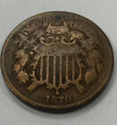 1870~  US TWO 2 Cent Piece - First Coin with In God We Trust ~CIVIL WAR ERA