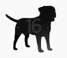 Border Terrier Dog Door House Number Sign Plaques in Black