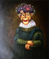 Quality Hand Painted Oil Painting Monkey with Grapes Hat 20x24in