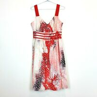 Jacqui E Womens Red/White Sleeveless Lined Dress Size 12