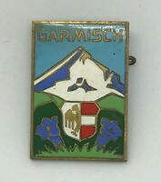 Vintage Enamel Shield Crest Pin Garmisch Lapel Pin