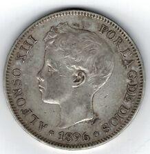 Moneda España 5 pesetas Alfonso XIII 1896 * 96  plata.900  silver