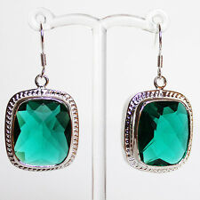 Silver Antique Look Chunky Green Faceted Crystal Earrings