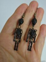 Vtg 60s Black Plastic Skeleton Bone Scull Halloween Pierced Dangle Drop Earrings