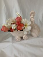 VINTAGE PINK PLANTER Southern Belle Ceramic Art Deco 7 in Baby Carriage Pink MCM